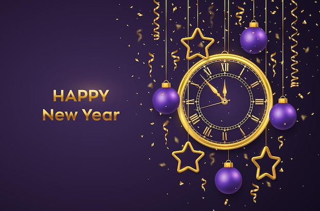 Happy new year 2022. golden shiny watch with roman numeral and countdown midnight, eve for new year. background with shining golden stars and balls. merry christmas. xmas holiday. vector illustration