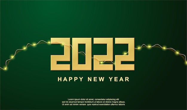녹색 배경에 금 번호와 램프가 있는 새해 복 많이 받으세요 2022 인사말 배경