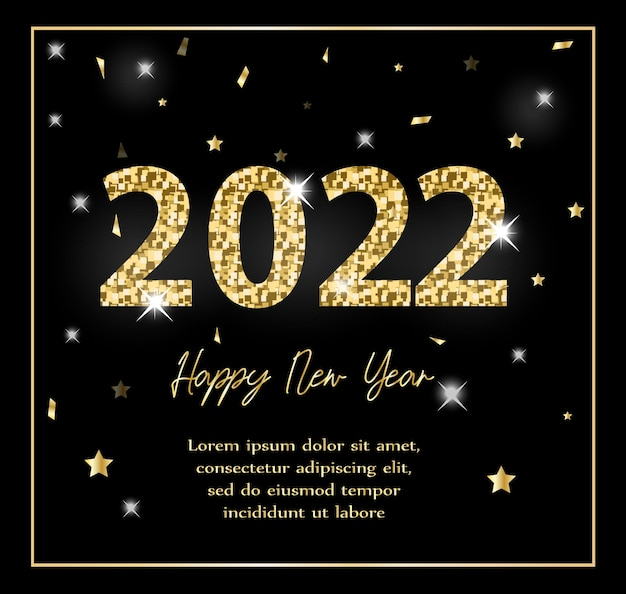 Happy new year 2022. greeting card, invitation template for your design with glitter effect. vector illustration.