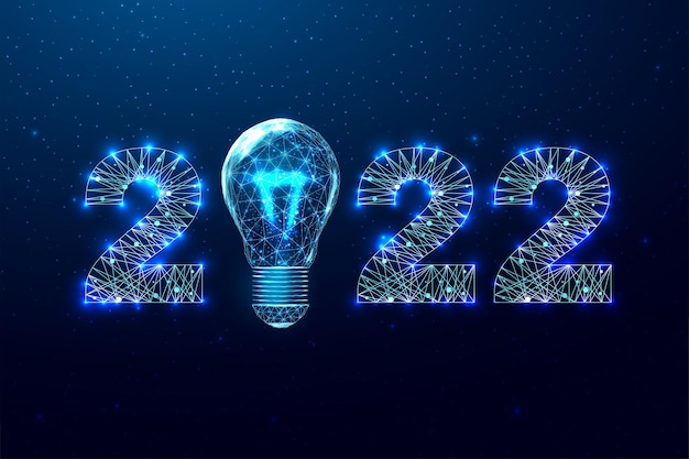 Happy new year 2022 greeting card. low poly style design. numbers and lightbulb from a polygonal wireframe mesh.