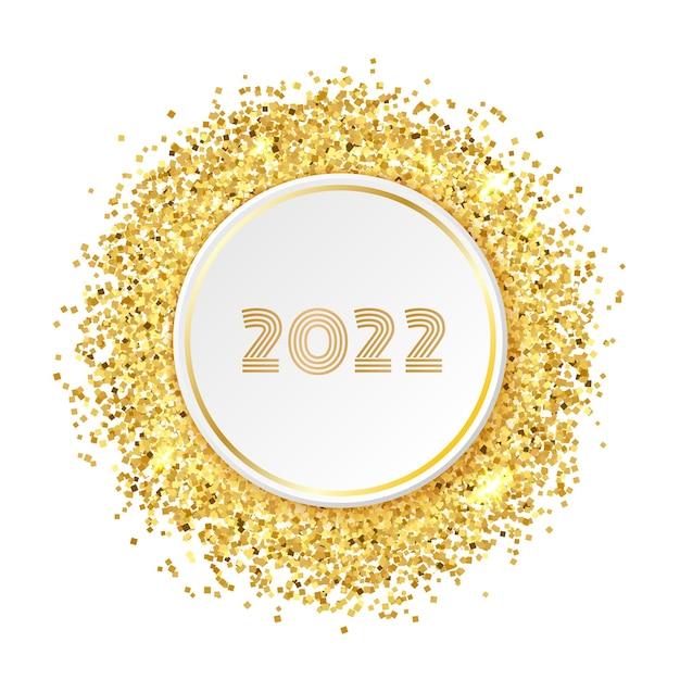 明けましておめでとうございます2022年グリーティングカードテンプレート。ペーパーサークルと数字2022のラウンドゴールドラメフレーム