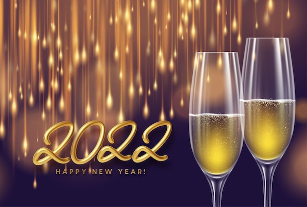 Happy new year 2022 greeting card with golden realistic number 2022, glasses of champagne and fireworks sparks.