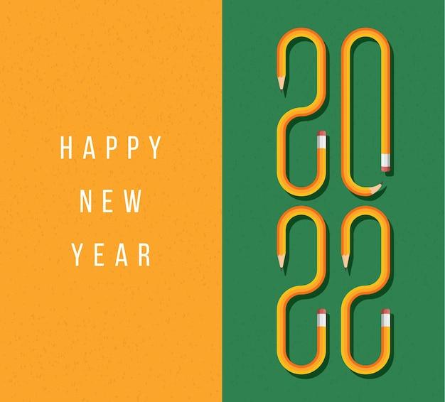 노란색 연필로 만든 텍스트가 있는 새해 복 많이 받으세요 2022 인사말 카드. 학교 그린 보드 배경 벡터 연필 글꼴