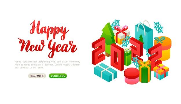 С новым годом 2022 надписи баннер. векторная иллюстрация изометрии зимний праздник.