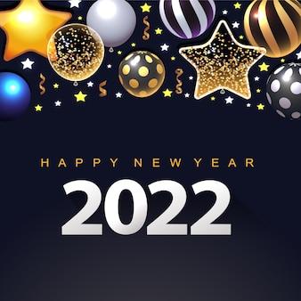 3d 금속 별 크리스마스 공과 황금 리본으로 새해 복 많이 받으세요 2022 럭셔리 배너 디자인