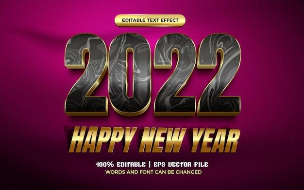 Happy new year 2022 luxury black gold modern 3d editable text effect