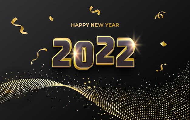 С новым годом 2022 роскошная золотая праздничная открытка с блестящими частицами и абстрактным фоном конфетти