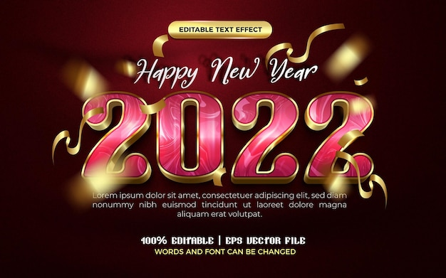 Happy new year 2022 luxury pink gold modern 3d editable text effect