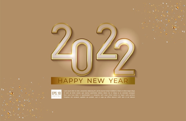 Happy new year 2022 luxury style illustration