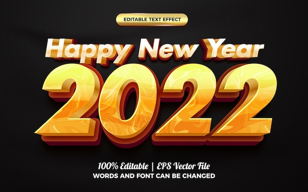Happy new year 2022 marble 3d editable text effect