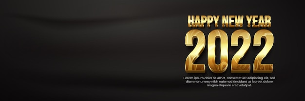 Happy new year 2022 marble gold banner template with blank space 3d editable text effect