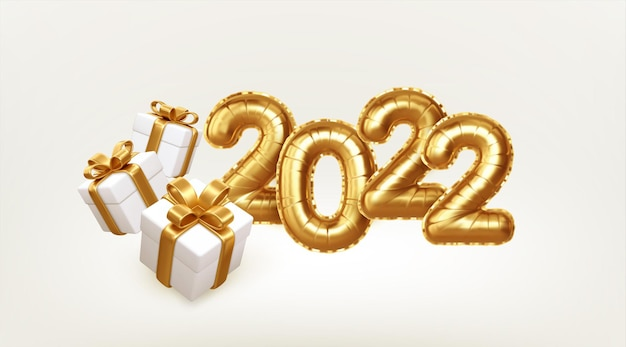 Happy new year 2022 metallic gold foil balloons and gift boxes on white background. golden helium balloons number 2022 new year. vector illustration eps10