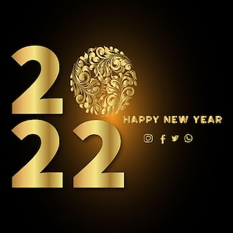Happy new year 2022 metallic gold foil on a minimalist style white background