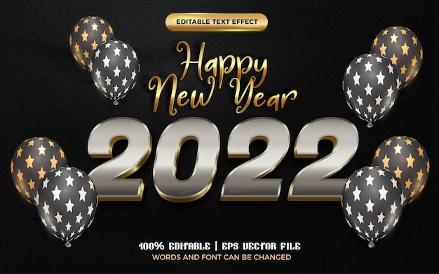 Happy new year 2022 metallic silver gold editable text effect with balloon