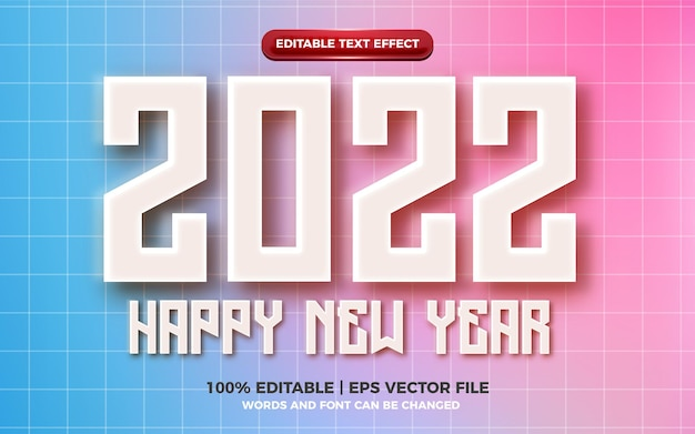 Happy new year 2022 modern embossed 3d editable text effect