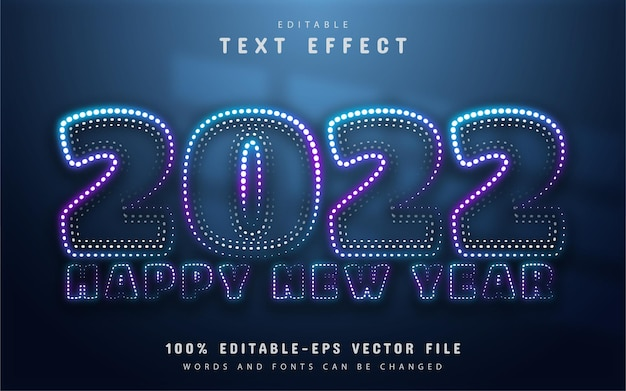 Happy new year 2022 neon dots style text effect