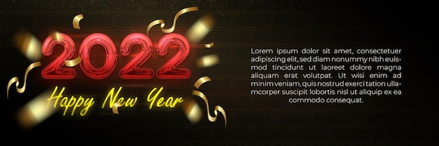 Happy new year 2022 neon glow banner template