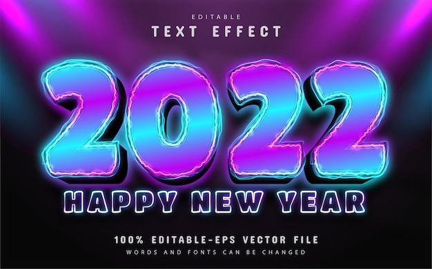 Happy new year 2022 neon style text effect