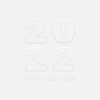 明けましておめでとうございます2022年の影が分離されたニューモルフィズムの数。挨拶の招待カードのneumorphicデザイン要素。ベクターイラストeps10