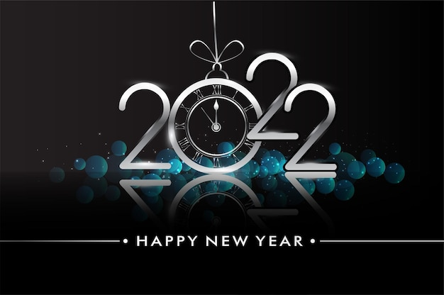 Happy new year 2022 - new year shining background with clock and glitter.