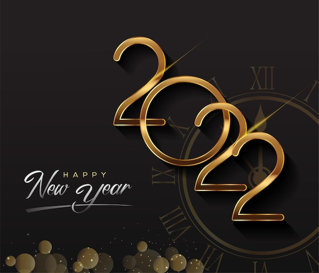 Happy new year 2022 - new year shining background with gold clock and glitter.
