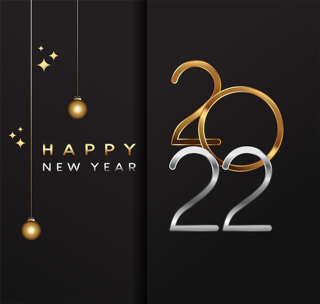 Happy new year 2022 - new year shining background with gold ribbon and glitter, elegant design.