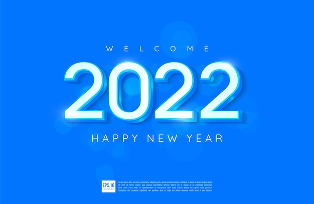Happy new year 2022 number design with blue theme greeting card