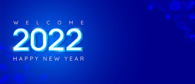 Happy new year 2022 number design with text space and blue theme suitable for banner new year celebration
