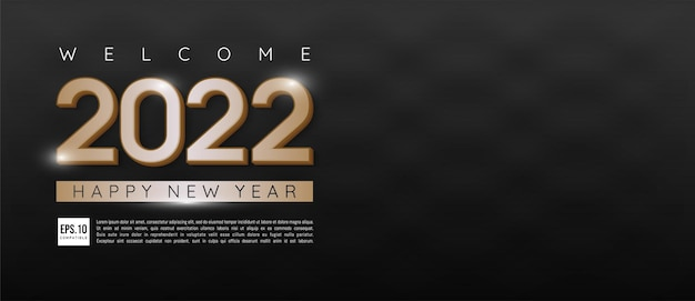 Happy new year 2022 number gold design with dark theme and text space