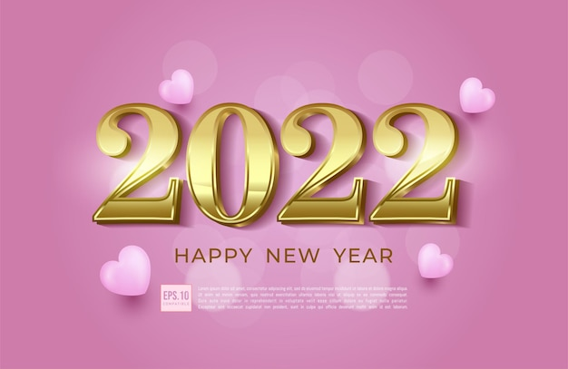Happy new year 2022 number illustration in modern gold border style and heart icon decoration