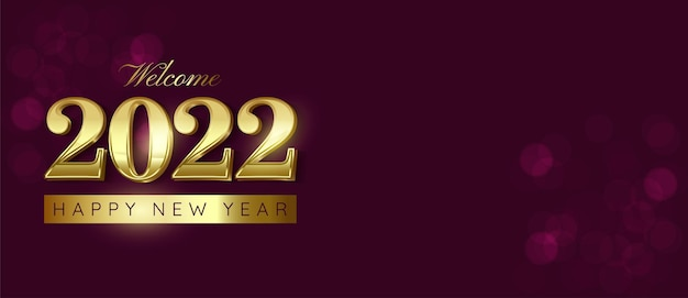 Happy new year 2022 number luxury design with text space