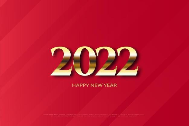 数字の色の組み合わせで赤い背景に新年あけましておめでとうございます2022