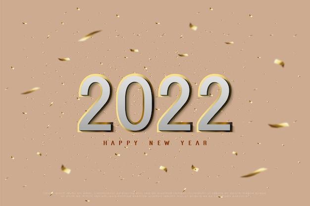 골드 리본 컷 배경에 새해 복 많이 받으세요 2022