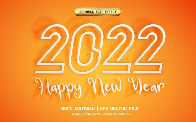 Happy new year 2022 paper cut 3d editable text effect