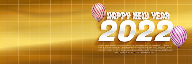 Happy new year 2022 paper cut banner template with blank space 3d editable text effect on gold background