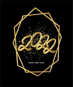 Happy new year 2022 poster with golden glitter particles