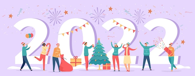 Happy new year 2022. poster with numbers and party people celebrating eve, tree, gifts and drinks. winter holiday resolution vector banner with fireworks. man and woman having fun with confetti