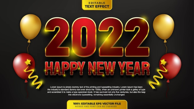 Happy new year 2022 red gold 3d editable text effect