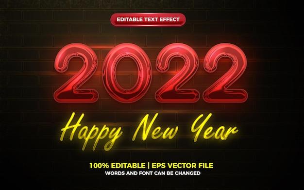 새해 복 많이 받으세요 2022 빨간 네온 불빛 광선 3d 편집 가능한 텍스트 효과