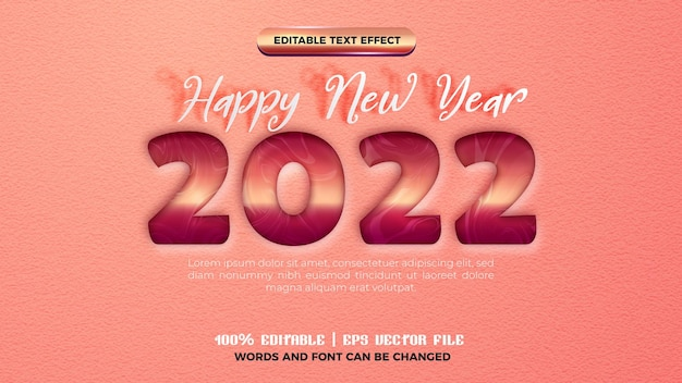Happy new year 2022 rose gold cutout text style effect editable