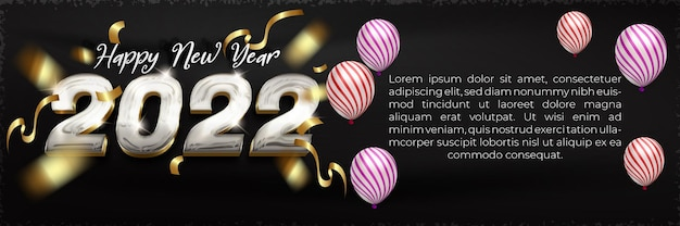 Happy new year 2022 shiny silver gold banner template with editable text effect