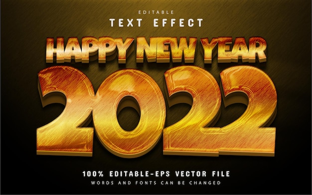 Happy new year 2022 shiny yellow text effect