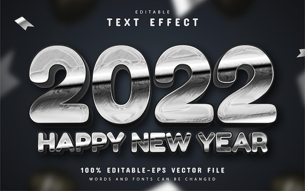 Happy new year 2022 silver 3d text effect editable