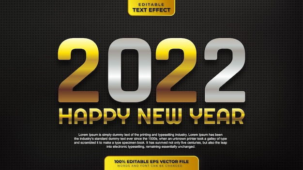 Happy new year 2022 silver gold editable text effect