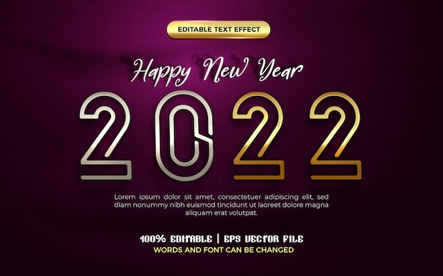 Happy new year 2022 silver gold plate modern 3d editable text effect