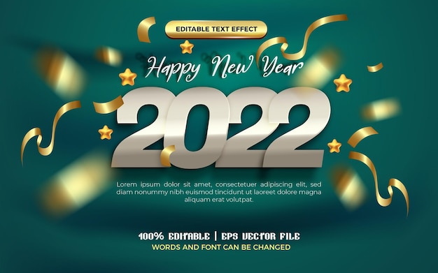 Happy new year 2022 silver gold ribbon editable text effect