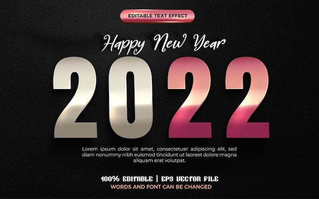 Happy new year 2022 silver rose gold with editable text effect