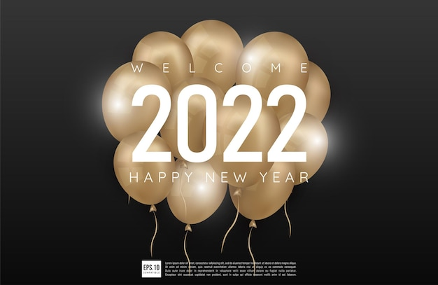 Happy new year 2022 simple design with dark theme and balloons decoration