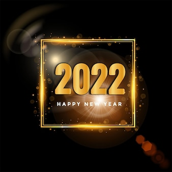 Happy new year 2022 simple modern black and gold background celebration