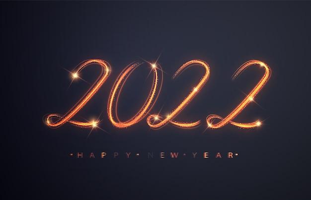 2022년 새해 복 많이 받으세요. 반짝이는 불타는 숫자 2022 . 디자인 휴일 인사말 카드, 광고판 및 웹 배너를 위한 아름다운 빛나는 오버레이 개체입니다.